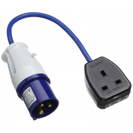 16 Amp Blue Plug to 13 Amp House Socket Converter