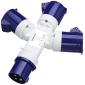 240 Volt 16 Amp 3-Way Splitter Socket (Blue)